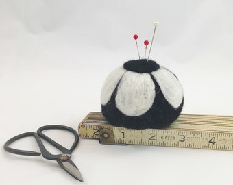 Needle felted wool pincushion, small travel size pin cushion for quilting, sewing, embroidery, cross stitch