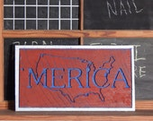 Merica cnc Carved Sign in reclaimed barn wood