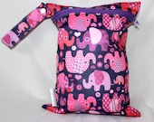 Sale! 9x12 wet bag in adorable purple elephant print. Perfect travel size. Will fit approx 4 cloth diapers
