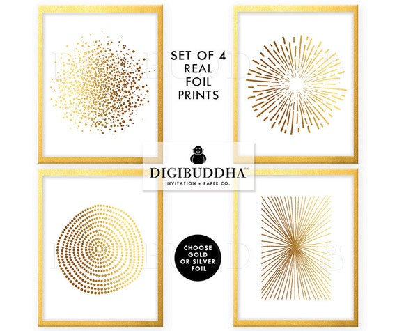 Gold Foil Wall Art gold foil prints set of 4 abstract posters real gold foil decor