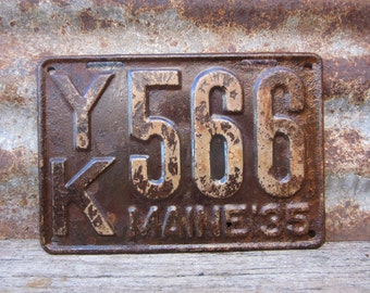 Antique Maine License Plate 1935 Aged Rusted Patina Rusty Number 566 Metal License Plate Tag Chippy Paint Garage Man Cave Rat Rod Car Truck