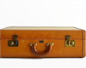 vintage Platt Airess tweed leather suitcase with key 1940s luggage yellow saddle tan
