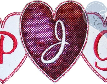 Triple Heart Monogram Applique Embroidered Patch, Sew or Iron on