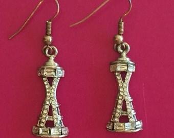 Seattle Space Needle vintage earrings with rhinestones
