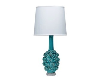 Aqua Ceramic Floral Sculpted Tall Lamp with White Shade