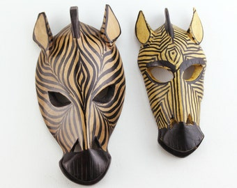 Beach Decor, Vintage, Zebra Pair, Wooden Mask  by SEASTYLE