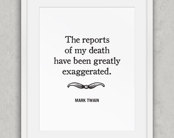 Funny art print, Mark Twain quote, Office Wall art, Funny quote art print, Black and White Decor, Office Decor, Printable Art
