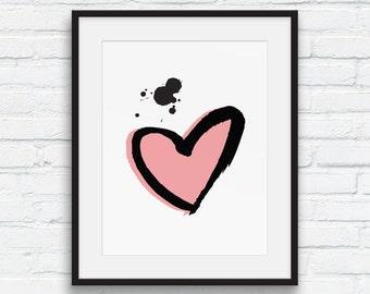 Heart Wall Print, Vintage Rose Pink, Black and White Decor, Pink Heart Wall Art, Scandi art, Minimalist wall decor, Printable Art