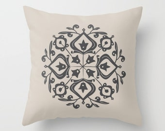 2 colour options, Persian Glaze Pillow, Folk Motif, Charcoal Black, Oyster Beige, Faux Down Insert, Indoor or Outdoor pillow cover