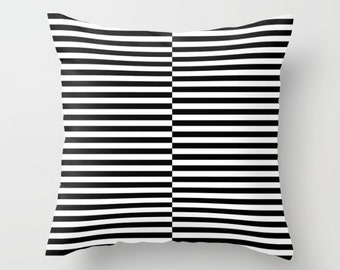36 colours, Offset Striped Pattern decorative pillow, Black and White Offset Striped pillow, Faux Down Insert, Indoor or Outdoor cover