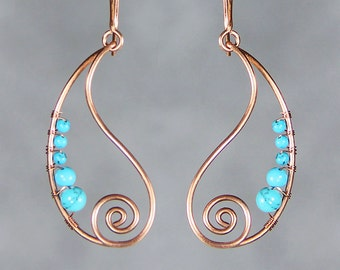 Copper wiring turquoise spiral teardrop hoop earring handmade US freeshipping Anni Designs