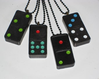 Domino Necklace Vintage Game Piece Jewelry Upcycled Gift For Her Him Black Red Green Pendant