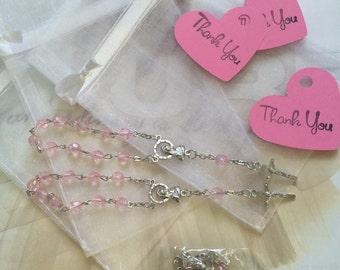 "24 wedding favors  or baptism favors 24 pcs Organza bags, 4"" x 6"" organza bag ,24 pink mini  rosaries  favor and 24 heart tags communion"
