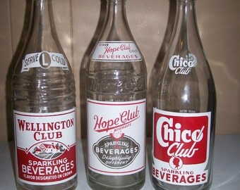 3 Red & White ACL Painted Vintage Soda Bottles: Hope Club, Wellington Club, Chico Club - New England Area