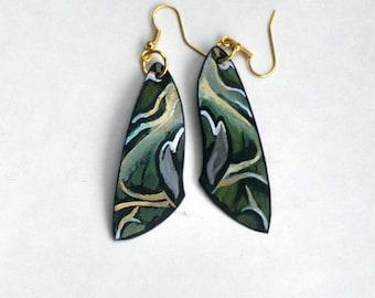 Handcrafted Moth Wing Earrings, 14k gold, Hypoallergenic or Sterling Silver, Jewelry, Dangle Earrings, Fish Hook,