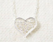 Holiday SALE 50% OFF Tiny Lace Heart necklace ... SILVER