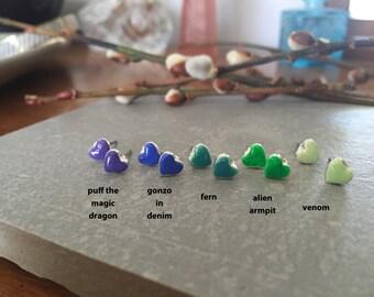 Green heart earring, Green earrings, Neon studs, Heart earrings, Heart stud, Tiny heart earring, Second hole, Tiny heart, Green, Tiny stud