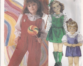 Jumper With Buttoned Bodice Gathered Skirt Overalls And Blouse Girl's Size 4 5 6 Children's Sewing Pattern 1986 McCall's 2712