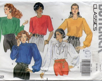 Loose Fitting Pullover Top With Slightly Extended Shoulders Size 12 14 16 Blouse Or Shirt Sewing Pattern 1990 Butterick 5061 Plus Size