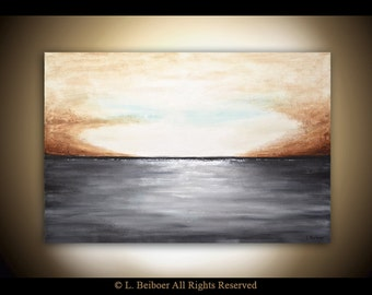 Landscape painting original large painting gray brown seascape horizon abstract art oil painting 24x36 by L.Beiboer