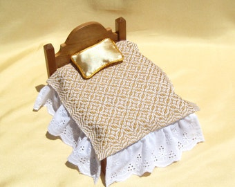 Dollhouse Coverlet Miniature Handwoven Coverlet Golden Periwinkle Coverlet 12th Scale Blanket Small Doll Bedding Miniature Gold Bedding
