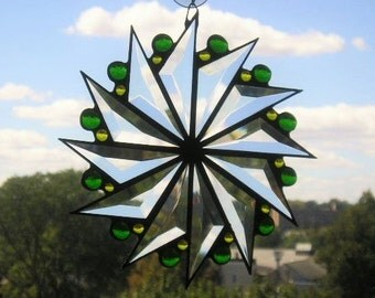 Stained Glass|Stained Glass Suncatcher|Pinwheel Design|Green|Yellow|Home & Living|Home Decor|Ornaments and Accents|Handcrafted|Made in USA
