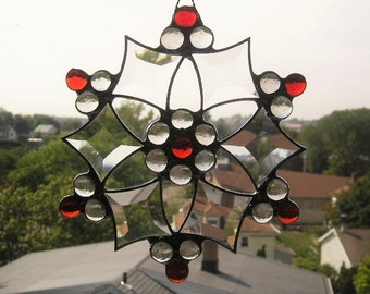 Stained Glass Snowflake Suncatcher Stained Glass Snowflake Winter Snowflake Red and Clear Glass Art Handcrafted Made in USA  rafted