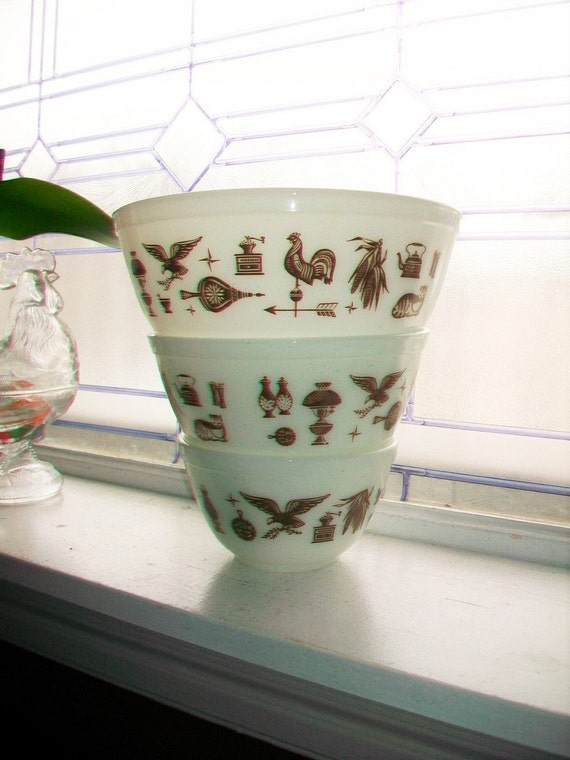 3 Pyrex American Heritage Mixing Bowls Set Brown And White