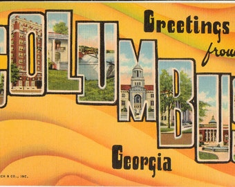 Linen Postcard, Greetings from Columbus, Georgia, Ft Benning, Large Letter