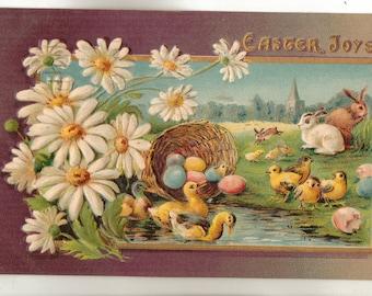 Vintage Easter Postcard, Eggs in a Basket, Chicks, Bunnies, Easter Joys, ca 1910