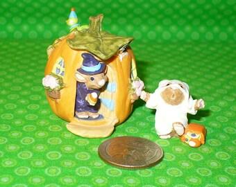 Hallmark Merry Miniatures HAPPY HAUNTING Halloween 2 pc SET 1995 in Box