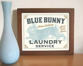 Laundry Room Decor Cabin Art Bunny Rabbit Art Print Laundry Sign Hare Artwork Bathroom Art Country Cottage