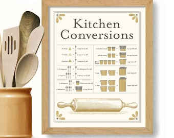 Kitchen Art Print Conversion Chart Vintage Art Rolling Pin Cooking Gift Kitchen Aid Black and White Kitchen Measurements Wall Art Print