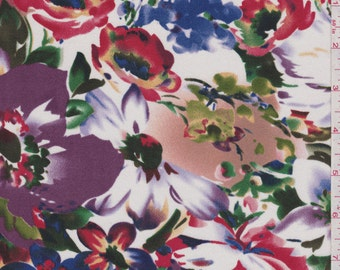 "43"" White Floral Print Silk Jersey Knit-Wholesale by the Yard"