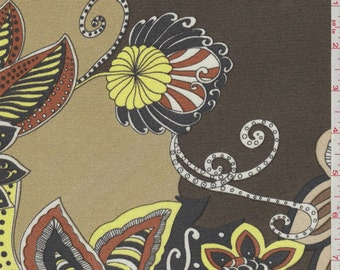 """43"""" Taupe Floral Print Silk Jersey Knit-Wholesale by the Yard"""