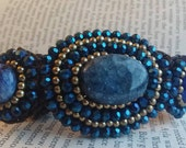 Chunky Beaded Bracelet - Woven Bead Bracelet - Seed Beads - Boho - Unique Jewellery - Artisan Handmade - Dark Blue - Bronze