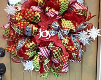 Christmas Deco Mesh Wreath ~ Christmas Wreath