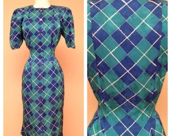 CLEARANCE Vintage Adrianna Papell 1940s 1950s Style Teal Blue Harlequin Print Pinup Dress 80s Does 40s 50s Rockabilly Below the Knee - Mediu
