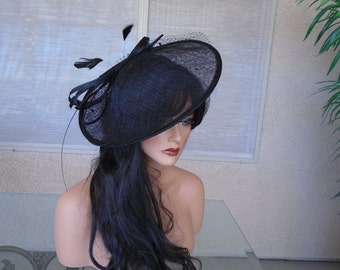 black Kentucky derby hat church hat wedding hat funeral hat