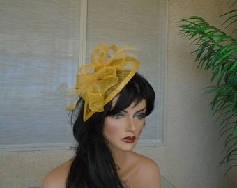 Yellow fascinator