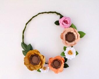 Flower Wreath, Paper Floral Wreath, Modern Wreath, Poppy Wreath