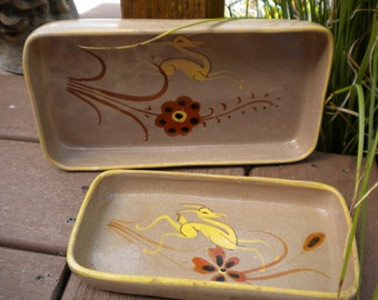Vintage Mexican Pottery Rectangular Nesting Bowls Set of 2 Kitchen Decor Folk Art Pottery Serving Dishes