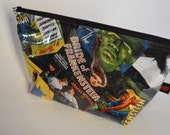 Handmade Unique Bride of Frankenstein Monster Large Makeup Bag // Cosmetic Pouch // Pencil Case // Horror Movie // Horror // Retro Movie //