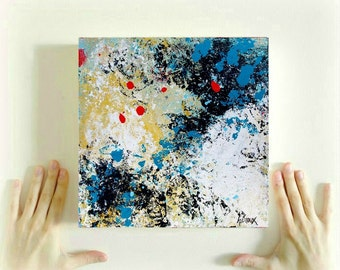 Original Art, Abstract Painting, Raw art, modern art on small canvas 10x10 inch, by Heroux