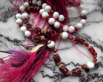 Ruby Red Glass Beaded Necklace Mixed With White Glass Beads