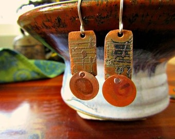"Handmade etched copper earrings - 1 1/2"" - Columbus Circle"