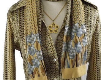 1970s Tami Sportswear Nylon Earthtone OpArt Op Art Abstract Button up Blouse with Matching Scarf