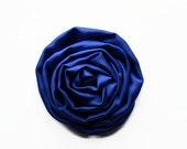 "ON SALE Dark Blue Satin Swirl Rose. 2.5"" Blue Satin Rose. Set of 2 Flowers. Hazel Collection. A3-Sf-003B"