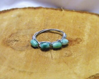 Guitar String Ring with Jade