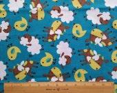 SALE 20% OFF Cotton Flannel Fabric, baby animals on blue green flannel -By the Yard- sheep, cow, bird, boy, baby, cute, blanket, soft, warm